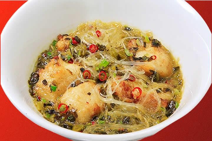 重慶風高菜と魚煮込み